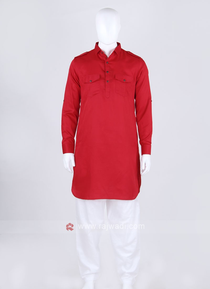 Men Red & White Solid Pathani Suit