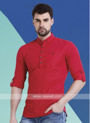Men Rose Solid Short Kurta