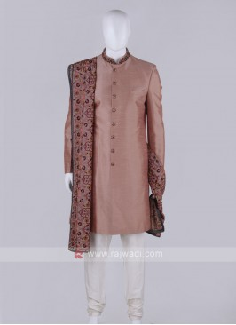Men Rosy Brown Color Indo-western With Stole