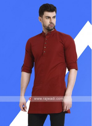 Men Rust Colour Solid Kurta