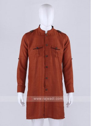 Men Rust Solid Kurta