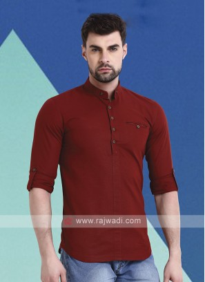 Men Rust Solid Short Kurta