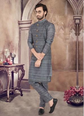 Attractive Grey Color Nehru Jacket Suit
