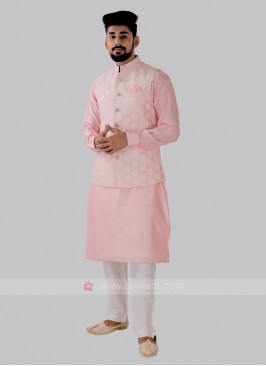 Men's Attractive Light Pink Color Nehru Jacket Suit