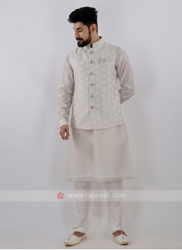Men's Attractive Off White Color Nehru Jacket Suit