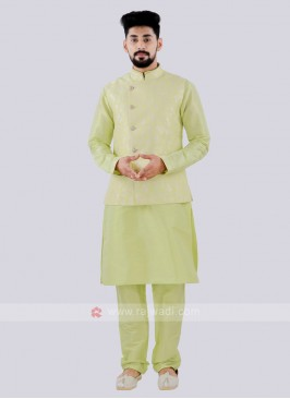 Men's Attractive Parrot Green Color Nehru Jacket Suit