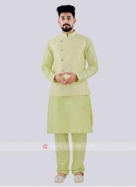 Men's Attractive Parrot Green Color Nehru Jacket Suit
