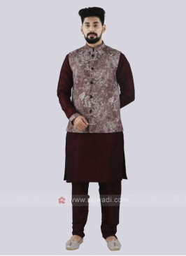 Men's Attractive Wine Color Koti Set