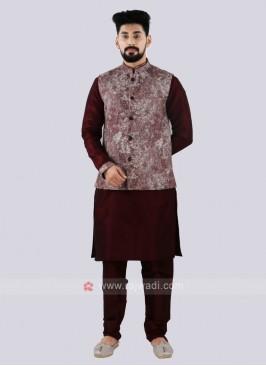 Men's Attractive Wine Color Nehru Jacket Suit