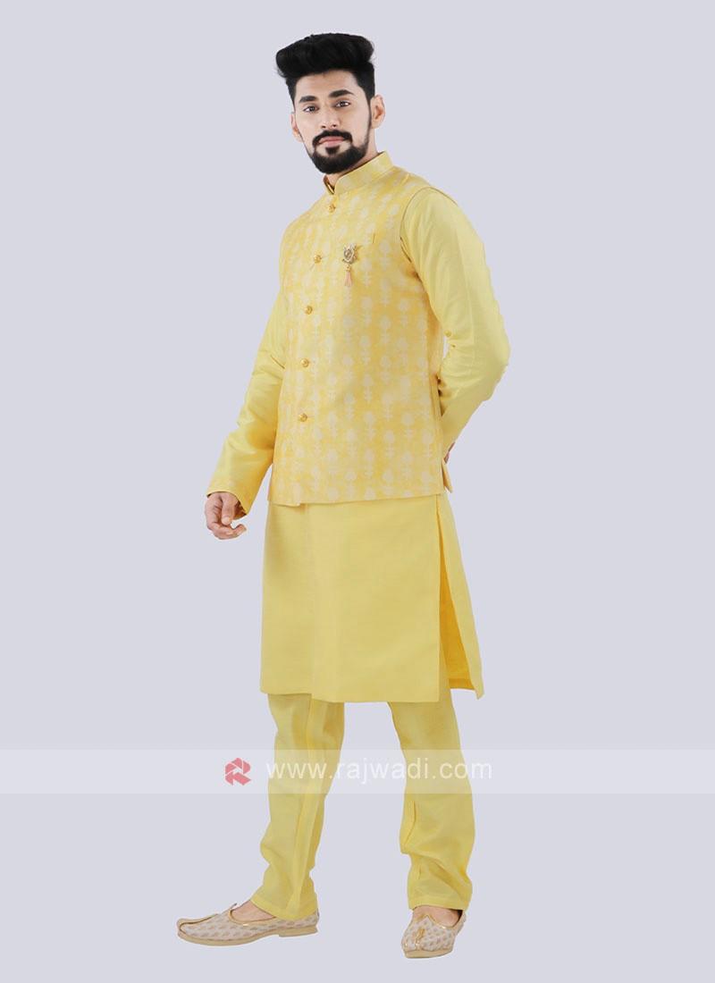 Men's Attractive Yellow Color Nehru Jacket Suit