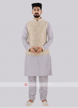Men's Cream & Grey Nehru Jacket Suit