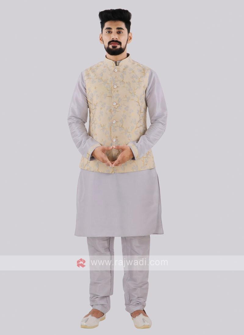 Men's Cream & Grey Nehru Jacket Suit