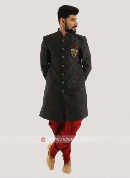 Men's Indo Western In Green And Red