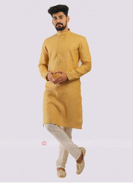 Linen Kurta Pajama In Golden