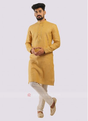 Linen Kurta Pajama In Golden