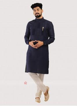 Men's Linen Kurta In Blue Color