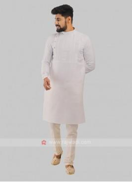 Men's Linen Kurta In White Color