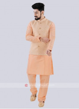 Men's Peach Nehru Jacket Suit