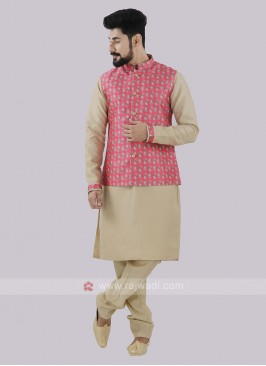 Men's Pink & Beige Koti Set