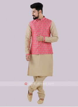 Men's Pink & Beige Nehru Jacket Suit