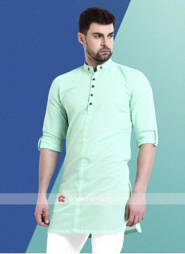Men Sea Green Colour Solid Kurta