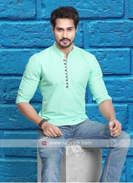 Men Sea Green Solid Short Kurta