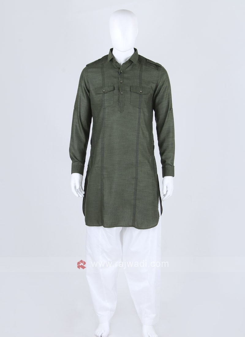 Men Mehndi Green Color Solid Pathani Suit