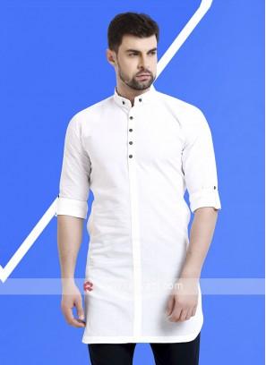 Men White Colour Solid Kurta