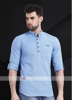 Men Sky Blue Solid Short Kurta