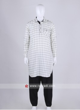 Men White & Black Chex Pathani Suit