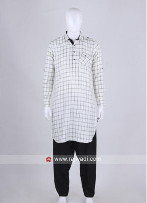 Men White & Black Chex Pathani Suit