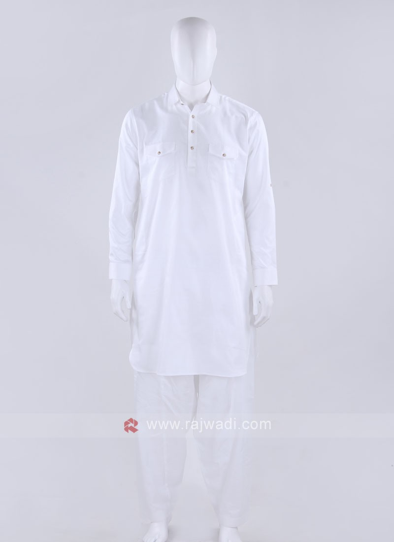 Men White Solid Pathani Suit