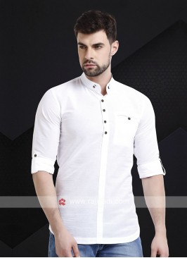 Men White Solid Short Kurta