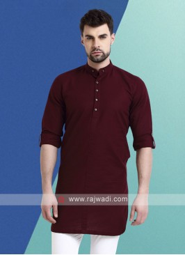 Men Wine Colour Solid Kurta