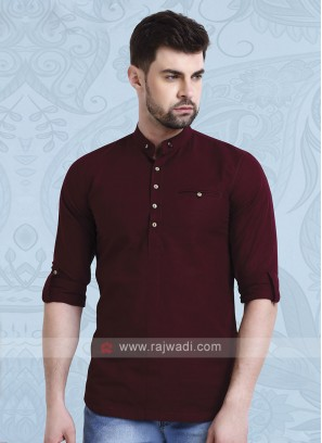 Men Wine Solid Short Kurta