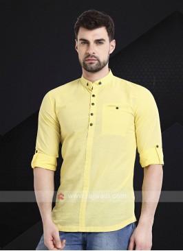 Men Yellow Solid Short Kurta