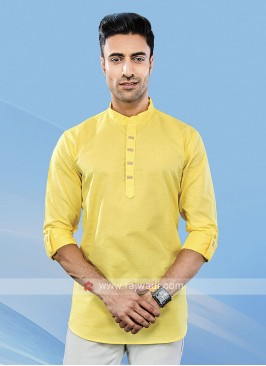 Men Yellow Solid Short Kurta