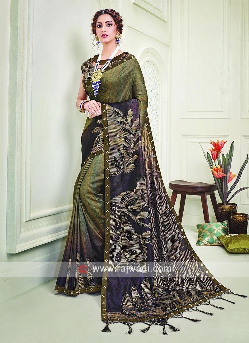 Menhdi Green And Wine Shaded Silk Saree