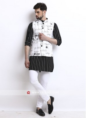 Mens Black And White Koti Set