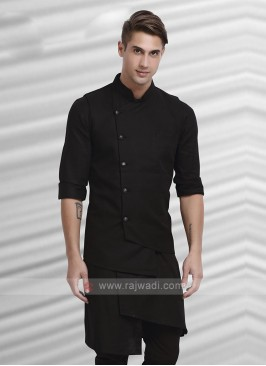 Mens Black Colour Nehru Jacket Suit