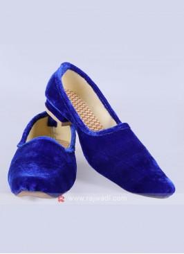 Mens Blue Velvet Mojari
