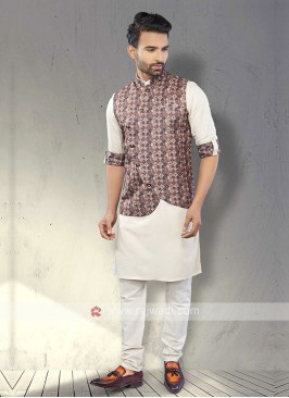 Mens Brown And White Koti Set
