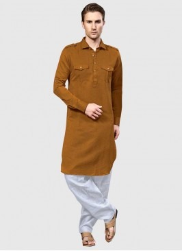 Mens Cotton Silk Pathani Suit with Chest Pocket