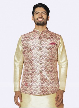 Mens Cream and multi-color nehru jacket