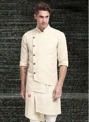 Mens Cream Colour Koti Set