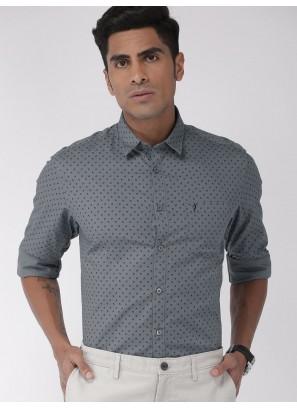 Indian Terrain Mens Grey Slim Fit Printed Shirt