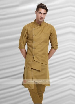 Mens Khaki Colour Nehru Jacket Suit
