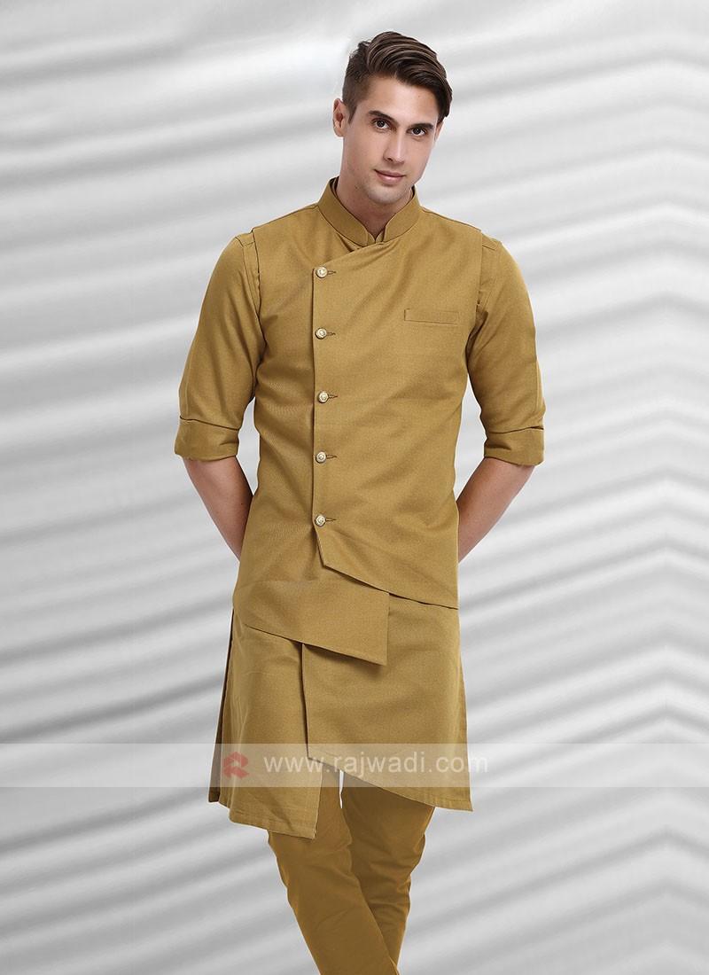 Mens Khaki Colour Koti Set