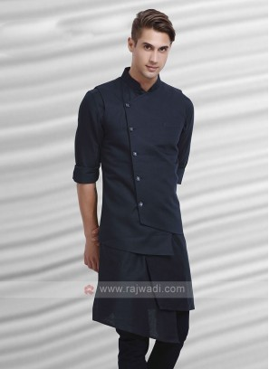 Mens Navy Blue Colour Nehru Jacket Suit