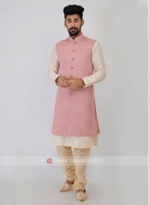 Mens Onion Pink Nehru Jacket Suit